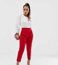 Зауженные брюки с завышенной талией ASOS DESIGN Petite - Красный