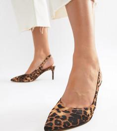 Туфли для широкой стопы с леопардовым принтом и ремешком через пятку ASOS DESIGN - Мульти