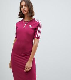 Красное платье миди с полосками adidas Originals - Красный