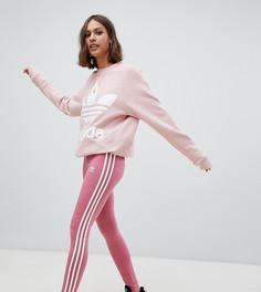 Розовые леггинсы с тремя полосками adidas Originals - Красный