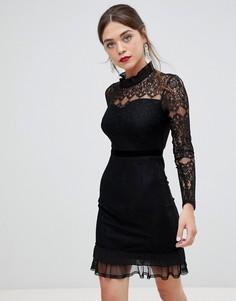 Кружевное платье с длинным рукавом, высоким воротом и бархатной отделкой Frock & Frill - Черный
