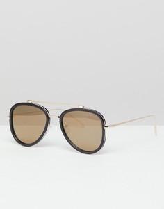 Черные солнцезащитные очки-авиаторы ASOS DESIGN - Черный