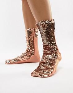 Золотисто-розовые носки с пайетками ASOS DESIGN - Золотой