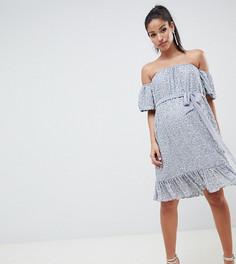 Платье мини с открытыми плечами, декоративной отделкой и поясом ASOS DESIGN Maternity - Серый