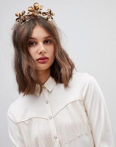 Золотистое массивное украшение для волос с металлическими цветами ASOS DESIGN - Золотой