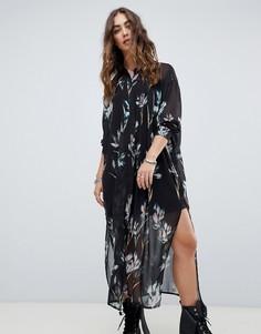 Платье-рубашка миди с цветочным принтом Religion - Черный