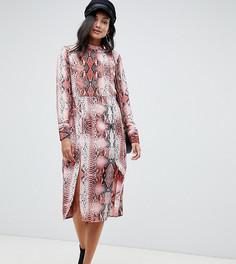 Платье-футляр миди со змеиным принтом эксклюзивно для ASOS DESIGN TALL - Мульти
