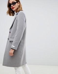 Облегающее пальто с контрастной отделкой Gianni Feraud - Серый