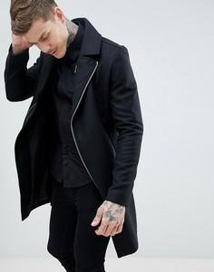 Черное пальто в байкерском стиле из ткани с добавлением шерсти Religion - Черный