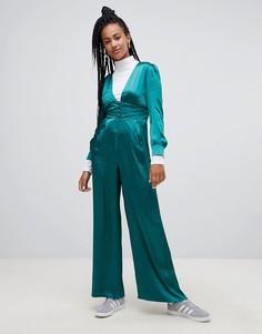 Атласный премиум-комбинезон с широкими штанинами Glamorous - Зеленый