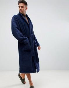 Махровый халат с логотипом Calvin Klein - Темно-синий