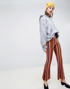 Трикотажные расклешенные брюки в полоску ASOS DESIGN - Мульти