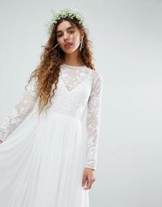 Платье макси с вышивкой на лифе ASOS EDITION - Белый