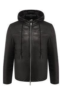 Кожаная пуховая куртка на молнии с капюшоном Giorgio Brato