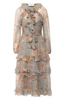 Шелковое платье с оборками и принтом Zimmermann