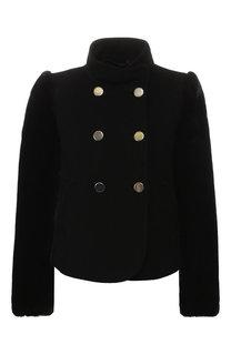 Укороченное двубортное пальто из шерсти Emporio Armani