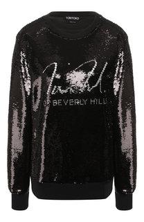 Пуловер с круглым вырезом и пайетками Tom Ford