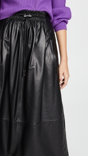 Tibi Drawstring Waist Leather Skirt