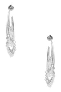 Серебристые серьги с кристаллами Exclaim