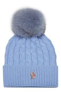 Голубая шапка с помпоном Moncler