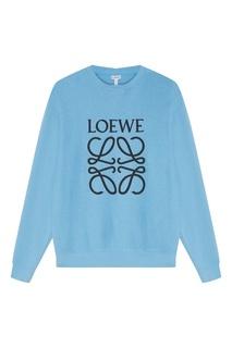 Голубой хлопковый свитшот Loewe