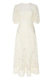 Белое кружевное платье с поясом Self Portrait