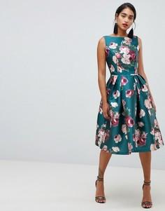 Платье миди с цветочным принтом Chi Chi London - Мульти