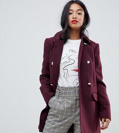 Свободное бордовое пальто Miss Selfridge Petite - Красный