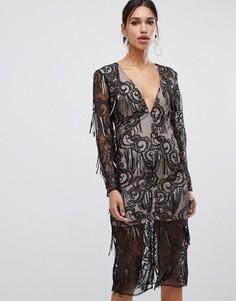 Черное премиум-платье с пайетками и кисточками True Decadence - Черный