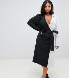 Платье миди с запахом в стиле колор блок эксклюзивно для ASOS DESIGN Curve - Мульти