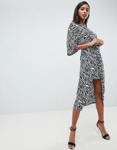 Платье-кимоно миди с узлом спереди и зебровым принтом ASOS DESIGN - Мульти