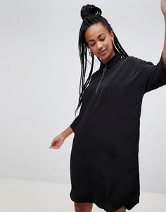 Черное oversize-платье мини с молнией на воротнике Monki - Черный