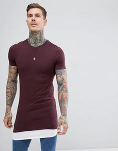 Длинная обтягивающая футболка со вставкой на нижней кромке ASOS DESIGN - Красный