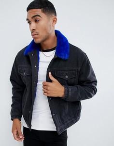 Черная джинсовая oversize-куртка с подкладкой из искусственного меха ASOS DESIGN - Черный