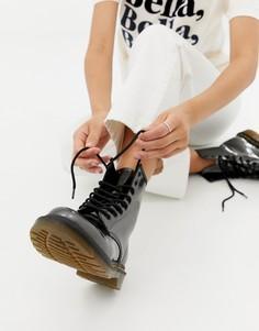 Серебристые высокие ботинки из искусственной кожи Dr Martens 1460 - Белый