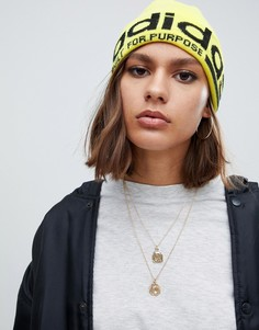 Желтая шапка-бини с контрастным логотипом adidas Originals - Желтый