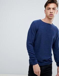 Легкий меланжевый джемпер с необработанным воротом Tokyo Laundry - Темно-синий