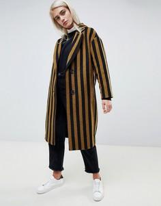 Строгое пальто в контрастную полоску Moss Copenhagen - Коричневый
