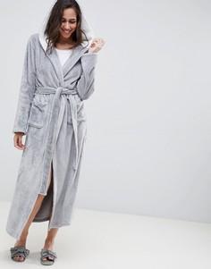 Флисовый халат миди на контрастной подкладке ASOS DESIGN - Серый