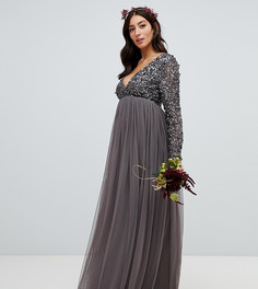 Темно-серое платье макси с длинными рукавами и пайетками Maya Maternity - Серый