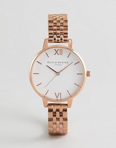 Розово-золотистые часы-браслет с белым циферблатом Olivia Burton OB16DEW01 - Золотой