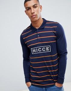 Темно-синий лонгслив-поло с логотипом на груди Nicce - Темно-синий