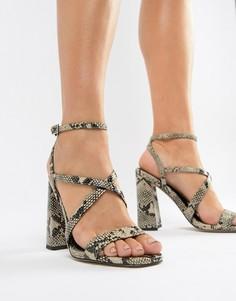 Босоножки на каблуке со змеиным рисунком ASOS DESIGN Home Girl - Мульти