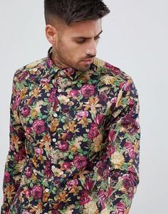 Темно-синяя рубашка скинни с цветочным принтом ASOS DESIGN - Темно-синий