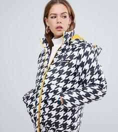 Дутая куртка с контрастной подкладкой в ломаную клетку ellesse - Белый