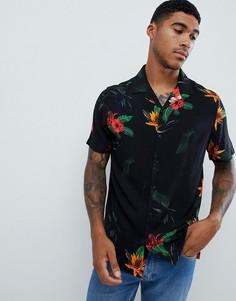Черная рубашка классического кроя с цветочным принтом ASOS DESIGN - Черный