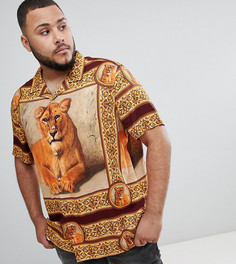 Вискозная oversize-рубашка с принтом и воротником в виде лацканов ASOS DESIGN Plus - Черный