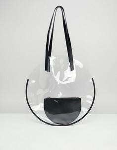 Пластиковая сумка-шоппер с клатчем ASOS DESIGN - Очистить