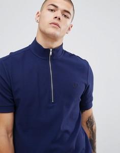Темно-синяя футболка-поло с молнией и воротником-стойкой Fred Perry - Темно-синий