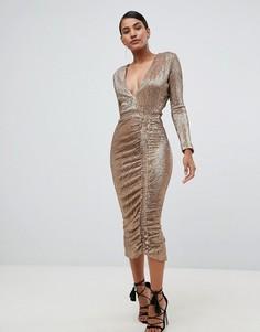 Золотистое платье миди с отделкой пайетками Lavish Alice - Золотой
